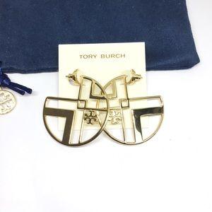 NWT Tory Burch Chevron Cutout Hoop Earrings